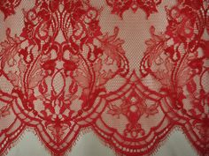 Chantilly Lace with Deep Scallop - Hot Red Lace