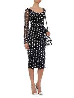 Dolce & Gabbana Polka-dot embroidered tulle dress