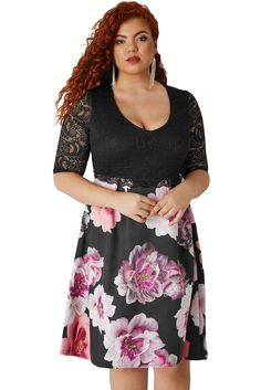b4bfe9f7b58 Black Lace Overlay Floral Skirt Curvy Dress