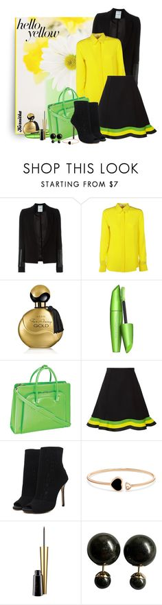 """nr 2252 / Get Happy: Pops of Yellow"" by kornitka ❤ liked on Polyvore featuring Anthony Vaccarello, Givenchy, Avon, COVERGIRL, McKleinUSA, J.W. Anderson, Chopard, MAC Cosmetics, Christian Dior and PopsOfYellow"