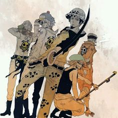 Heart Pirates Trafalgar D. Water Law, Shachi, Penguin One piece