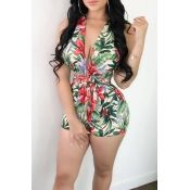 Lovely Sexy V Neck Floral Printed Bandge Green Pol