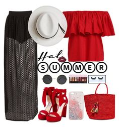 """""""summer Hat"""" by naomy-nona ❤ liked on Polyvore featuring Jimmy Choo, Sensi Studio, Anastasia Beverly Hills, Huda Beauty, Lime Crime, Calypso Private Label and summerhat"""