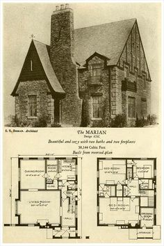 1927 Brick Houses: The Marian (Okay, I had to pin this!) 1927 Brick Houses: The Marian (Okay, das musste ich festnageln! Brick Cottage, Cottage Homes, Cottage Style, Cottage Gardens, Old Cottage, The Plan, How To Plan, Tudor House, English Tudor