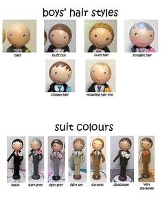 boys-hair-styles for peg dolls Wood Peg Dolls, Clothespin Dolls, Doll Crafts, Diy Doll, Clothes Pegs, Wooden Pegs, Kokeshi Dolls, Little Doll, Fairy Dolls