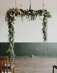 RENAE/FLORIST - For our wedding arch. We like this combination of greenery and florals. We just want to make sure all the greenery goes well together with the chair ends, centerpieces, and potted plants complement or are similar to each other. Wedding Ceremony Ideas, Wedding Arches, Hanging Garland, Hanging Flowers, Floral Wedding, Wedding Flowers, Floral Arch, Floral Garland, Wedding Designs