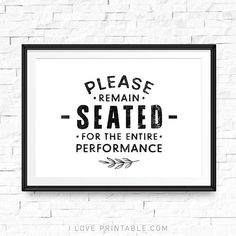 Funny bathroom sign, Please remain seated for the entire performance, Bathroom decor wall art, Kids bathroom decor, Bathroom decor gold – kids bathroom decor