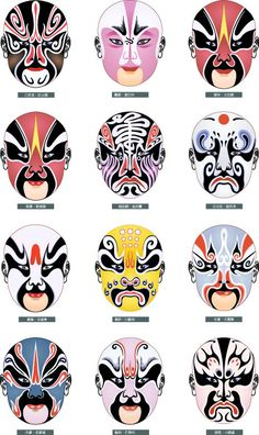 Peking Opera Chinese Opera Mask, Chinese Mask, Peking, Japanese Mask, Japanese Mythology, Masks Art, Face Characters, Fashion Painting, China Painting