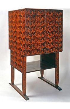 Koloman Moser, Cigar Cabinet, 1900. Inlay, palmwood mahogany. Made byPortois & Fix, Vienna. Via Museum of Applied Arts, Budapest.