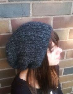 f2aeacde Hand knit hat / Unisex Grey Knitted Toque Extra by NataNatastudio