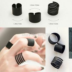 New Hot 3Pcs/set Punk Stack Plain Black Polish Above Knuckle Open Ring Band Midi…