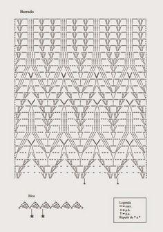 Armarinho São José: Vestido Maravilhoso em Crochê Plus Size! Granny Square Crochet Pattern, Crochet Borders, Crochet Diagram, Crochet Stitches Patterns, Crochet Chart, Filet Crochet, Knitting Stitches, Crochet Lace, Stitch Patterns