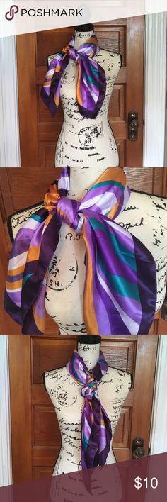 """Beautiful square multicolored scarf Beautiful square scarf. Multiple shades of purple as well as teal and orange. 36x36"""" tarte Accessories Scarves & Wraps"""