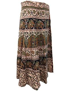 Wrap Skirt- Apricot Elephants Print Cotton Indian Wrap Around Skirts Mogul Interior http://www.amazon.com/dp/B00RE4Q3N8/ref=cm_sw_r_pi_dp_x4tOub0HMTRYT