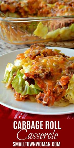 Cabbage Roll Casserole (Deconstructed Cabbage Rolls) - - This easy casserole brings all the delicious flavors of cabbage rolls together with a lot less time and effort. Lazy Cabbage Rolls, Cabbage Rolls Recipe, Turkey Cabbage Recipe, Recipe For Cabbage Roll Casserole, Stuffed Cabbage Casserole, Baked Cabbage Recipes, Beef Recipes, Cooking Recipes, Healthy Recipes