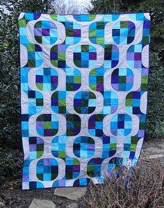 Purple and Aqua Mod Pop quilt