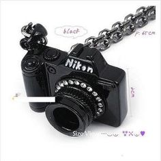 Personalize Black Camera With Rhinestones Long Pendant Necklace at Cheap Jewelry Store Gofavor Photography |Jewelry - Daily Deals| cheap jewelry stores