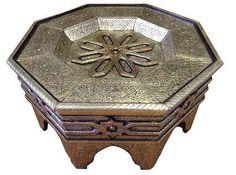 Moroccan Octagonal Center Table Engraved Metal Wood Arabesque Design Furniture