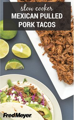 Make your next taco Tuesday one to remember with this Inspired Gathering recipe for Slow Cooker Mexican Pulled Pork Tacos. Marinate tender pork shoulder in chili powder, brown sugar, cayenne pepper, and cinnamon. Serve each taco with avocado, radishes, cabbage, feta cheese, and lime juice to complete this tasty weeknight dinner.