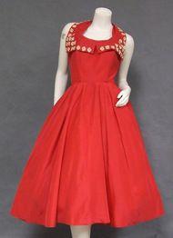 Vintage Red Taffeta 1950's Halter Dress w/ Floral Appliques