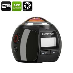 360 Degree Action Camera - Waterproof, 220 Degree Fish Eye Lens, FHD At Wi-Fi, HDMI (Black)Key Features. The 360 degree Wi-Fi action camera lets you take amazing panoramic shots and videosGreat quality pictures thanks to . Wi Fi, Ios, Gopro Action, Black Highlights, Android, Waterproof Camera, Cmos Sensor, Video Camera, Black