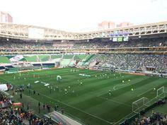 Palmeiras x Inter em campo para aquecimento