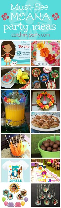 Check out this fabulous Roundup of Moana birthday party ideas! You'll find great ideas for things like decorations, birthday cake, a party favor and much much more!! See more party ideas and share yours at http://CatchMyParty.com