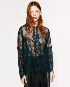 Image 4 of TWO-TONED LACE TOP from Zara