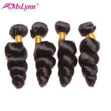 Mslynn Hair 4 Bundle Deals Peruvian Loose Wave Bundles Human Hair Weave 10-28inch Natural Color 100% Remy Hair Extension(China)