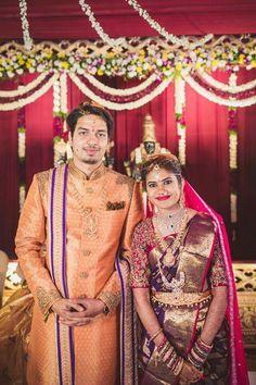 Bridal Silk Saree, Saree Wedding, Wedding Bride, Wedding Prep, Silk Sarees, Groom Outfit, Groom Dress, South Indian Bride, Indian Bridal