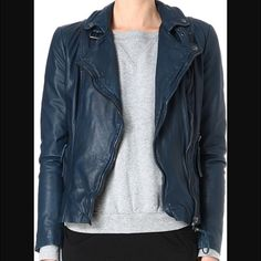 Muubaa ink reval leather jacket The smooshiest leather jacket with classic motorcycle jacket styling in an unexpected inky blue-black color! Always got a ton of compliments with this jacket but now looking to downsize. Fitted cut is super flattering! Only worn a handful of times and in great condition. Muubaa Jackets & Coats