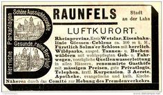 Original-Werbung/ Anzeige 1898 - LUFTKURORT BRAUNFELS - ca. 90 x 50 mm