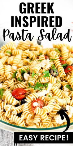 If you are a fan of greek salads–or of feta cheese in general–you are going to love this easy pasta salad recipe! #pastasalad #sidedish Easy Pasta Salad Recipe, Yummy Pasta Recipes, Easy Salad Recipes, Easy Dinner Recipes, Easy Dinners, Savory Salads, Easy Salads, Healthy Salads, Side Dishes Easy