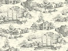 Scenic Nautical Historical Toile in Black  Wallpaper #York My favorite toile ever! Incredible!