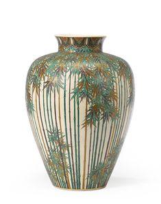 A Satsuma large ovoid jar By Ito Tozan Meiji period (late century) Japanese Vase, Japanese Words, Japanese Ceramics, History Of Ceramics, Meiji Era, Cherry Blossom Flowers, Crystal Vase, Porcelain Vase, Ceramic Art