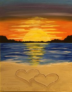 View Paint and Sip Artwork - Pinot's Palette Beach Sunset Painting, Beach Art, Beach Paintings, Sunset Beach, Ocean Beach, Diy Painting, Painting & Drawing, Heart Painting, Beach Drawing
