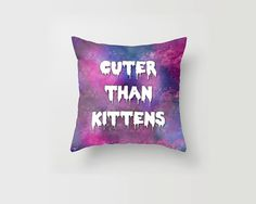 Throw Pillow Cover Cuter than Kittens Cat Pastel Goth Galaxy Trippy Cute Decorative Pillow Cover Made to Order 16x16 18x18 20x20 Home Decor on Etsy, $32.79 CAD