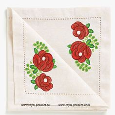 Free Machine Embroidery Design Bouquet of red flowers