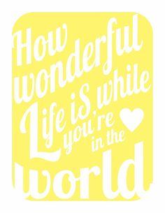 How Wonderful Life Is v3 - romantic music inspired print in happy sunshine yellow