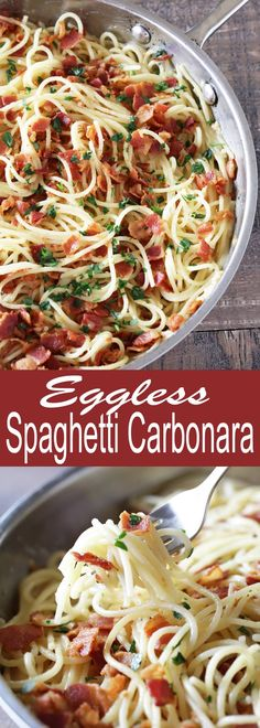 This Eggless Spaghetti Carbonara is the perfect way to get your carbonara fix without the eggs. And it's ready in just 15 minutes so it's the perfect weeknight dinner!