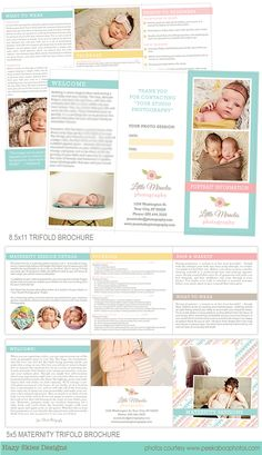 Newborn Photography Marketing Suite -Marketing Set Templates for Photographers   #marketing #branding #photographer #photography #logo #brochure #templates #marketing set #maternity #newborn photography #photoshop templates