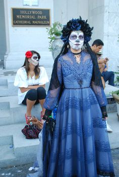 Dia de los Muertos traditional lace dress and mantilla to go with sugar skull face.