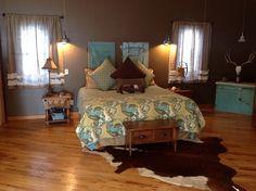 Master bedroom - CF Kasbah bedding from Country Door, salvaged barn doors, barn lights from Lowe's, burlap curtains