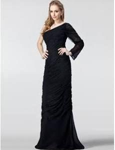 Plus Size Evening and Formal Dress Sheath Column One-Shoulder Floor-L