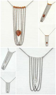 Pressed Glass Leaf, Multi Strand Layered Chain Necklace, Gunmetal Chandelier, Clear Crystals, Modern Dark Boho