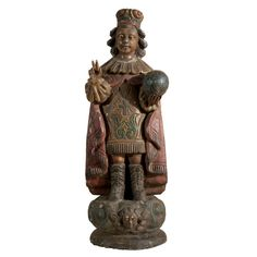 19th century Czech carved wood polychromed statue of the Infant of Prague. The eyes of the statue are of glass and wonderful hand carved detail makes up his hands, face, and garments. Czechoslovakia, 19th c.