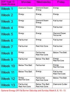 DDP YRG Yoga Schedule for Beginner for 13 weeks