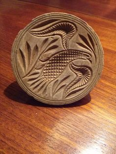 3,5in wide w/handle. Old Folk Art Primitive Carved Wood Butter Stamp Mold Bird Design c.1820 $206.67 Jan 22, 2015