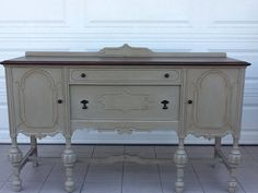 Antique Sideboard Buffet Credenza Server Console ASCP French Linen Rockford Stamped 1906.