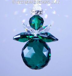 Lil Chubby Angel SunCatcher made with 20mm Emerald Swarovski Crystal by Lilli Heart Designs
